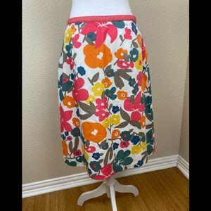 Boden gorgeous bright cotton floral midi skirt